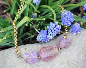 Natural amethyst chunks with double gold chain necklace