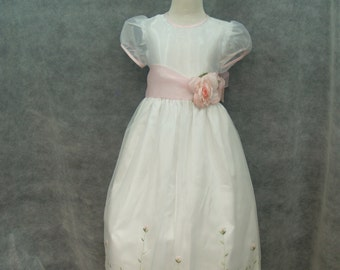Embroidered Organza Girls Dress Size 6, Pink Embroidered Roses, Puffy Sleeves, Flower Girl, Sunday Best, Pageant Dress, Girls Formal Wear