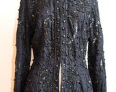 THEO MILES 1990s Label By Leslie Fay Black Lace Embellished Beaded Long Sleeve Exclusive Ornamentation Size 6 - S/M Luxury Jacket