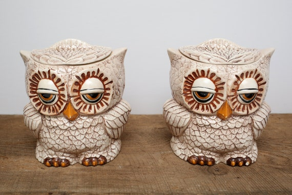 Vintage Double Sided Ceramic Owl Cookie Jar Canister