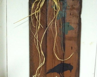 Primitive fall sign: Country Harvest pumpkin with crow