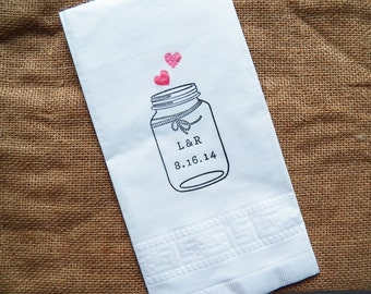 50 Personalized Wedding Dinner Napkins, Mason Jar, Initials, Date, 2 Ply, Engagement, Bridal Shower, Anniversary, Rehearsal Dinner, Cake
