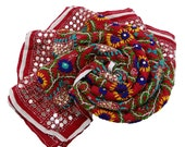 Traditional Vintage Phulkari Dupatta India Sequins Embroidered Fabric Stole Veil Hijab Red Georgette DP9853