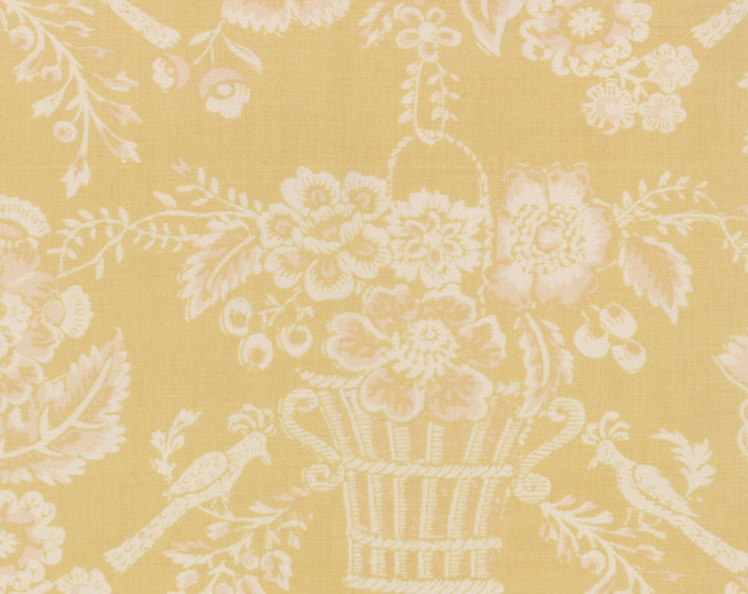 Le Bouquet Francais by French General - Baskets on Buttercup Yellow - 1/2yd