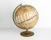 Adventure Awaits Painted World Globe Tan 12 inch Painted Quote Hand Lettering Wanderlust Travel Decor