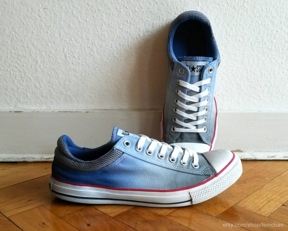 a982ea980f25 Blue grey ombre converse low tops upcycled vintage jpg 570x456 Ombre  converse