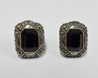 Gold Filled Clip Earrings with Black Stones
