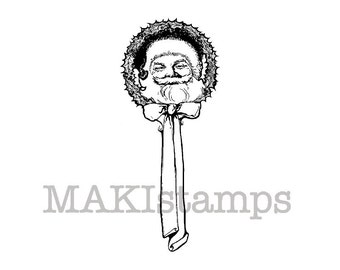 Christmas rubber stamp / Santa Claus Vignette / Unmounted rubber stamp or cling stamp style option  (140712)