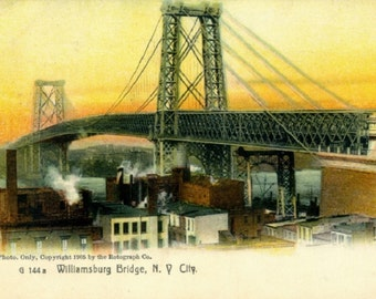 Williamsburg Bridge, New York City, 1905 Vintage REPRO Post Card R0015