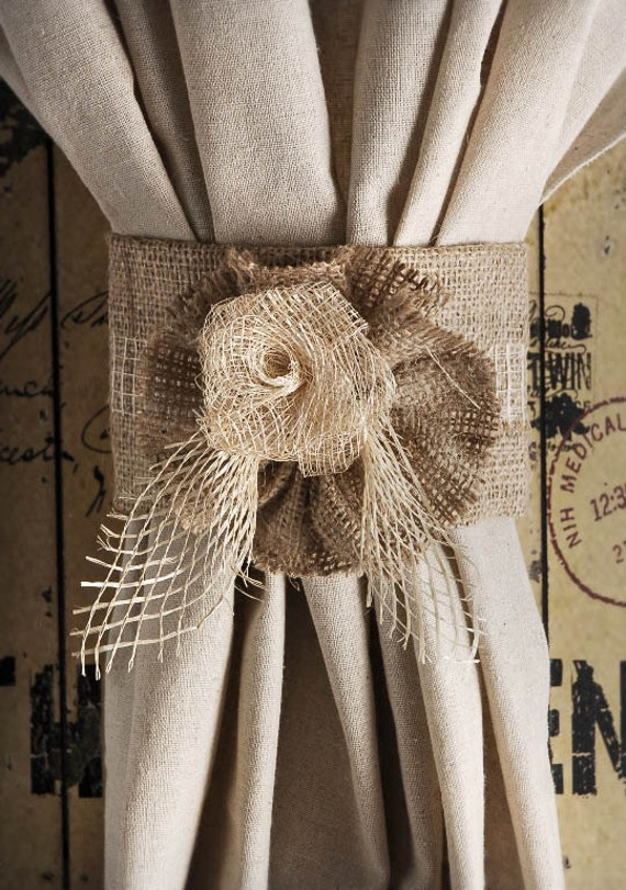 burlap jute rose curtain tie back home decor rustichome. Black Bedroom Furniture Sets. Home Design Ideas