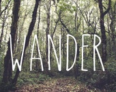 IN STOCK Wander, Forest Path, Woodland Wall Art, Autumn, Travel, Fall, Green, Golden, Wanderlust, 10x10, 12x12 Photo Print