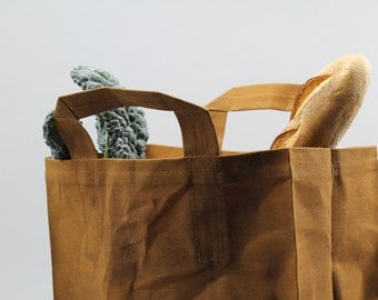 The Market Bag // Caramel Brown WAXED Reusable Canvas Shopping Bag with handles, eco-friendly and stylish