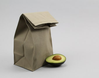 """The """"Brown"""" Bag // Moss Green UNWAXED Canvas Lunch Bag, an updated, eco-friendly classic"""