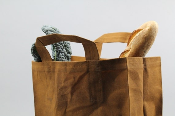 The Market Bag // Caramel Brown WAXED Reusable Canvas Shopping