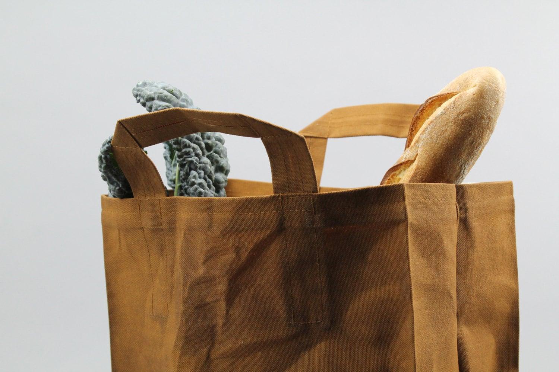 The Market Bag Caramel Brown Waxed Reusable Canvas Shopping