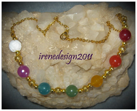 Handmade Gold Chakra Necklace with 7 Gemstones by IreneDesign2011