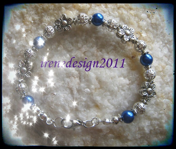 Handmade Silver Bracelet with Blue Pearls & Flowers by IreneDesign2011