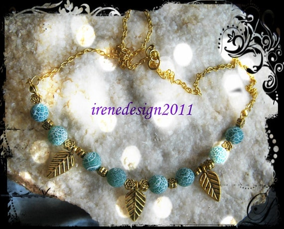 Handmade Gold Necklace with Green Dream Dragon Fire Vein Agate, Leaves & Roses by IreneDesign2011