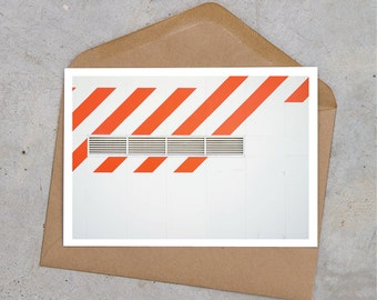 orange stripe urban industrial postcard