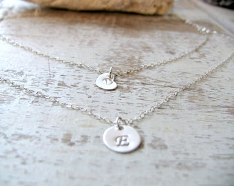 Personalized Layered Heart Necklace,Initial Necklace,925 Sterling Silver,Initial Necklace,Heart Necklace,Custom hand stamped Initials,Gift