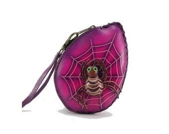 Spider on Web Wristlet /  Halloween Spider /  Coin Purse /  Purple
