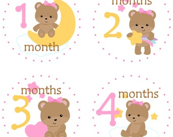 Monthly Baby Stickers Baby Girl Stickers Baby Month Milestone Stickers Bear Pink Blue Baby Month Stickers Monthly Bodysuit Stickers 28
