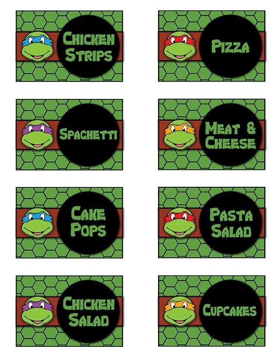 Teenage Mutant Ninja Turtles Food Buffet Labels By AtomDesign