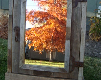 Reclaimed Farmhouse Rustic Medicine Cabinet with mirror,  Barnwood Cabinet