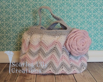 Crochet Chevron Purse w/Fabric Lining