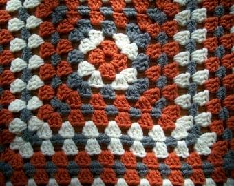Urban Orange Granny Square Lapghan Crochet Baby Afghan Throw