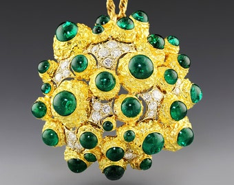 Huge Funky Vintage 11.00ctw Emerald & Diamond Pendant Brooch Pin 18K Gold