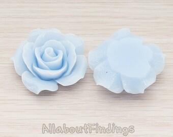 CBC189-PB // Pastel Blue Colored 35mm Angelique Rose Flower Flat Back Cabochon, 2 Pc