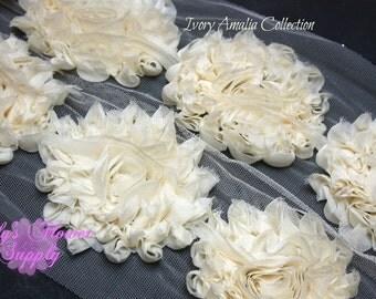 Ivory Shabby Rose Trim - Shabby Flower Trim - Shabby trim - Shabby Flower - Chiffon Flower - Shabby Chic - Rose Trim - Wholesale - Amalia