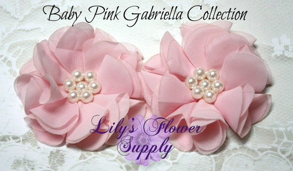 Two baby pink fabric flowers wholesale beaded flower for Wholesale baby fabric