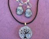 Silver Necklace Earring Set, Select Clip On OR Pierced Earrings, Tree Jewelry Set - Harper - 4301 -1