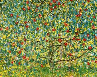 "11x14"" Cotton Canvas Print, The Apple Tree, Gustav Klimt, 1912, Flowers, Blooms"