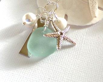 Sea Glass Jewelry  Starfish Beach Wedding Jewelry Garden Leaf Seaside Necklaces