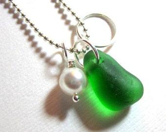 Sea Glass Jewelry   Seaside O Necklace Green beach Glass