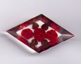 Vintage Clear Lucite & Red Roses Geometric Brooch