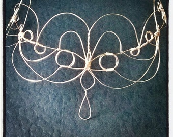 Titania Faerie Headdress Silvered Wire Circlet Gift for Her Bridal Headpiece LOTR Handfasting Pagan