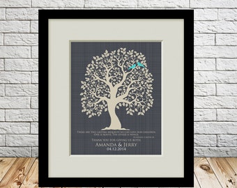 Wedding Thank You Parent Gift, Grooms Parents, Brides Parents, Mother of the Groom, Mother of the Bride, Wedding Tree Print