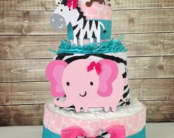 Deluxe Safari Girl Diaper Cake, Safari Baby Shower Centerpiece