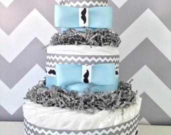 Mustache Diaper Cake, Baby Shower Centerpiece