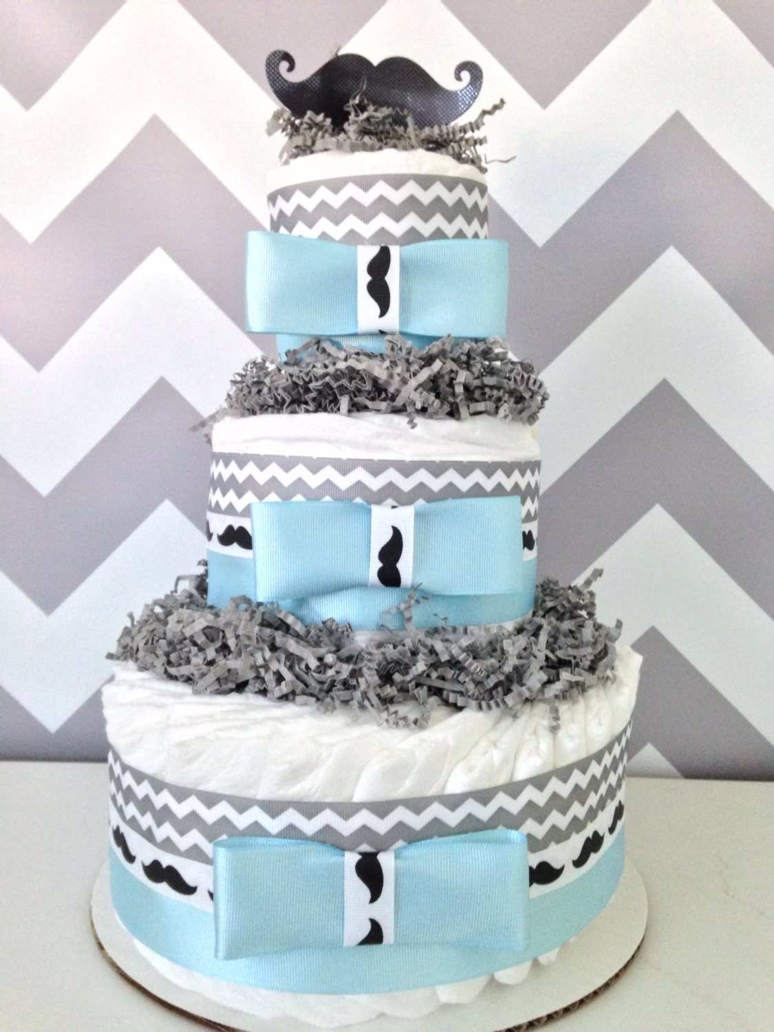 mustache diaper cake baby shower centerpiece by alldiapercakes
