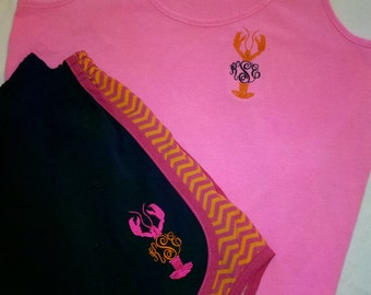 Pink Monogrammed Tank Top and Shorts Set/Crawfish/ Lobster design/ Orange Chevron Shorts/  Running/ Cheerleading