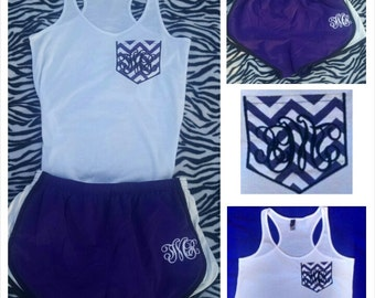 Purple Chevron Monogrammed Faux Pocket Tank Top/  Matching Monogrammed Short Set/ Running Set/ Cheerleading Set/ Workout set