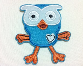 Lot Of 10 Pieces Blue Owl (5 x 7 cm) Embroidered Iron on Applique Patch (ALW)