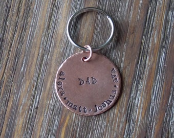 Hand Stamped Jewelry-Personalized keychain-Hand Stamped Daddy Keychain-Father's Day
