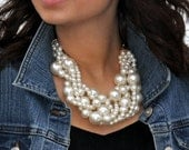 Classic Pearl Twist Statement Necklace with Bonus Glass Pearl Earrings!  FREE SHIPPING