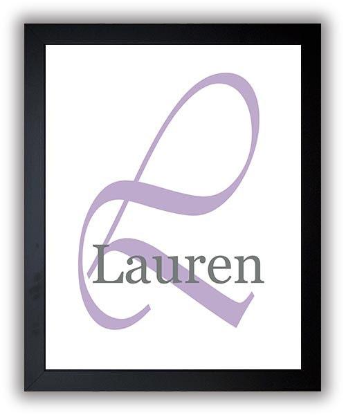 Monogram Custom Name Print Customized Print Personalized Purple Nursery Art Nursery Print Nursery De